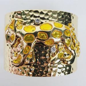 Lilly Pulitzer Leopard Cat Hammered Gold Cuff